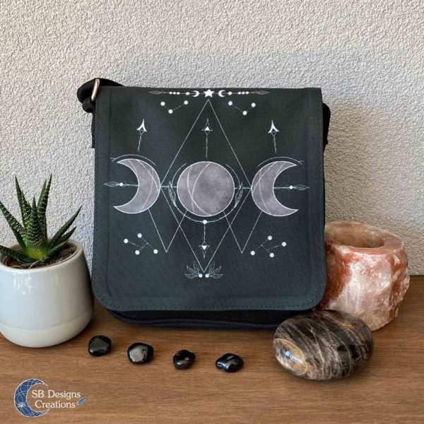 Triple Moon Black Bag - Drievoudige maan tas Heks Pagan tas-1