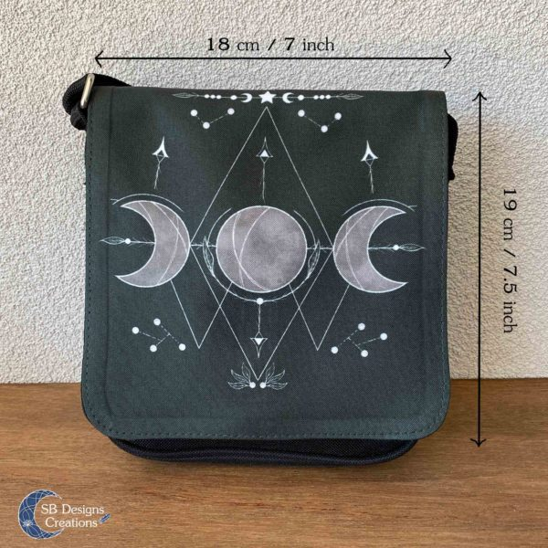 Triple Moon Black Bag - Drievoudige maan tas Heks Pagan tas-4