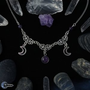 Triple Moon ketting met Amethist Moon witch Moon Child Spiritual Jewelry SB Designs Creations