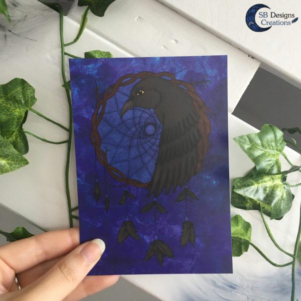 Raven-Dromenvanger-Postcard-Ansichtkaart-Raven-Krachtdier-SBDesignsCreations