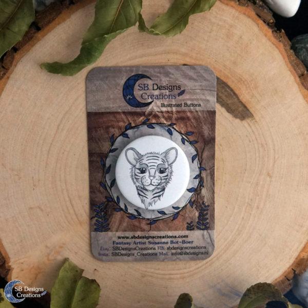 Tiger Spirit Animal Button Pin Badge SB Designs Creations-1