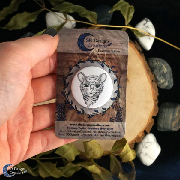 Tiger Spirit Animal Button Pin Badge SB Designs Creations-2