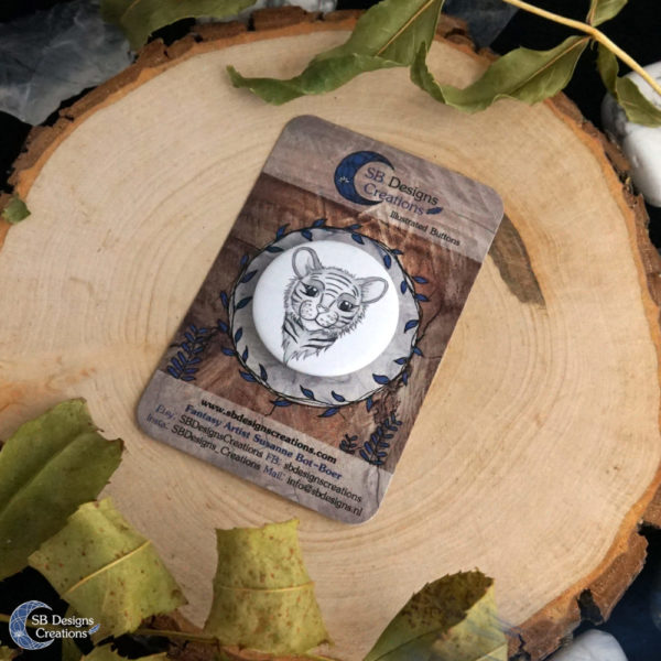 Tiger Spirit Animal Button Pin Badge SB Designs Creations-3