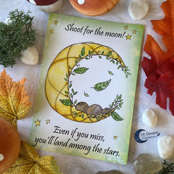 Shoot for the Moon- Maan Quote - Ansichtkaart Moonchild -SBDesignsCreations-2