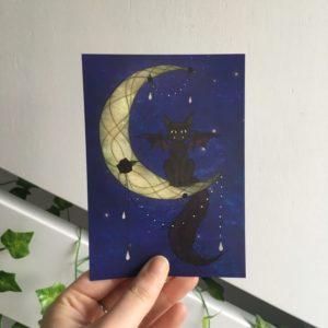 Cat On The Moon Postcard-Kat op de maan kaart