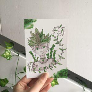 tree fairy enchanted forest card inktober art susanne bot boer