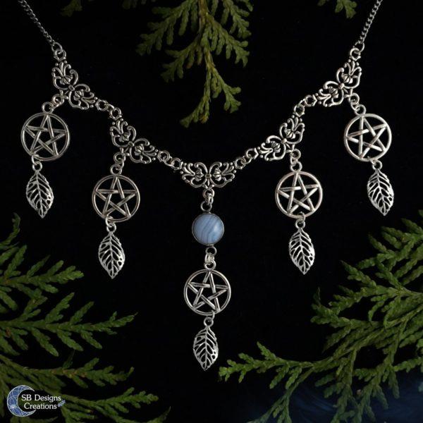 Blauwe kantagaat pentagram ketting - SB Designs Creations
