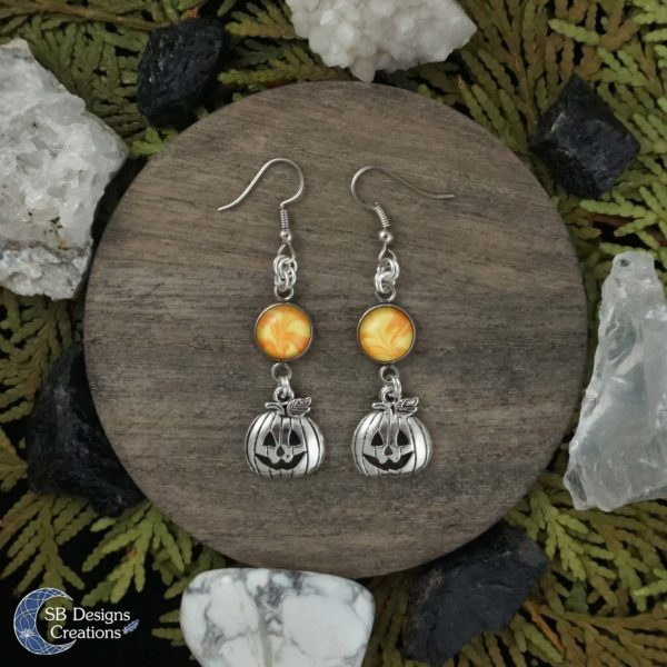 Halloween-Oorbellen-Pompoenen-Orange-Geel-SBDesignsCreations