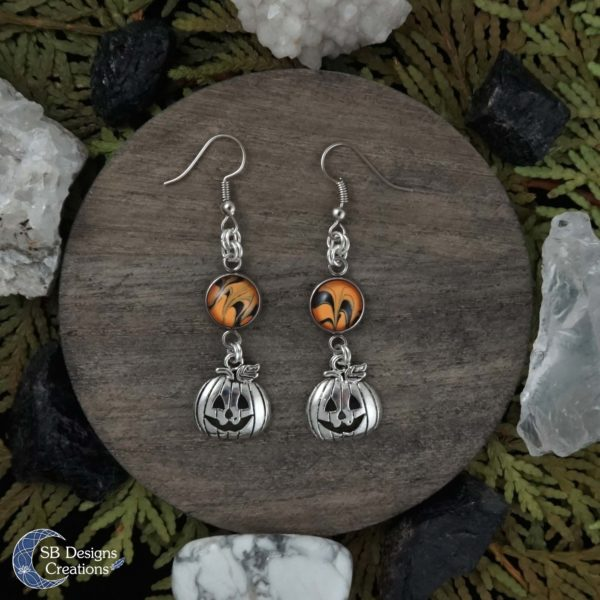 Halloween-Oorbellen-Pompoenen-Oranje-Zwart-SBDesignsCreations