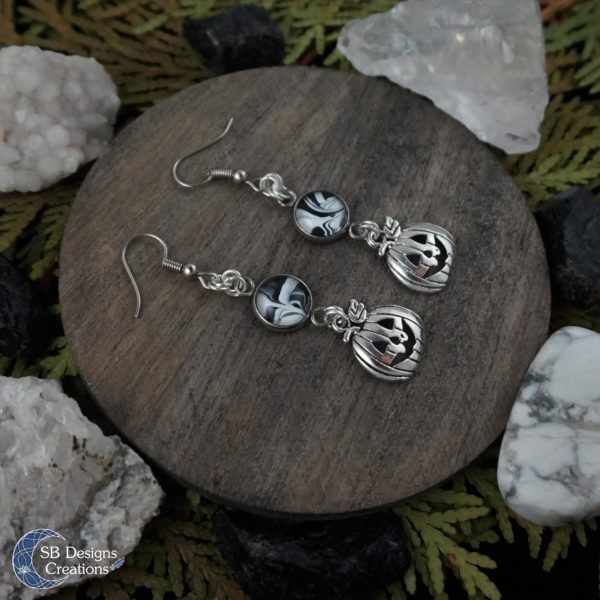 Halloween-earrings-pumpkins-black-white-sbdesignscreations3