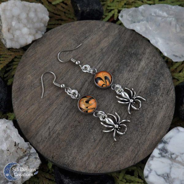 Halloween-Oorbellen-Spinnen-Orange-Zwart-SBDesignsCreations