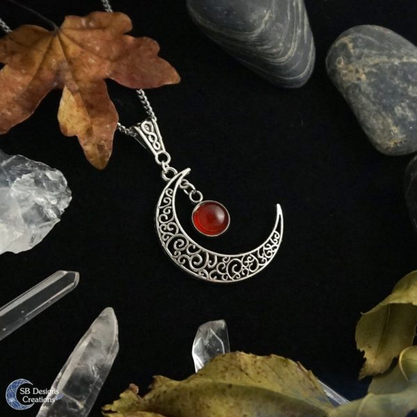 Maan Ketting Carneool - Carnelian Moon - Moonchild- SB Designs Creations