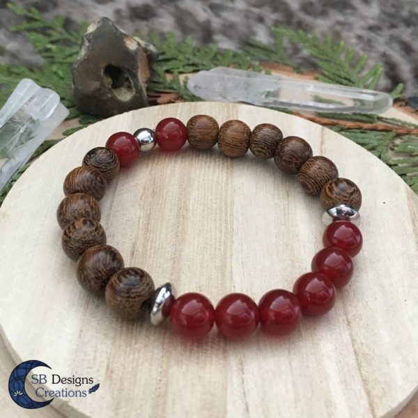 Carneool-Wood-and-Stone-armband-Crystal-healing