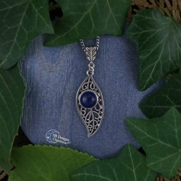 Leaf-Necklace-Lapis-Lazuli-SBDesignsCreations
