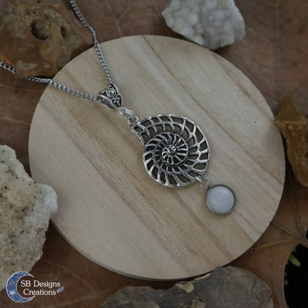 Shell-Fossil-Necklace-White-Jade-SBDesignsCreations