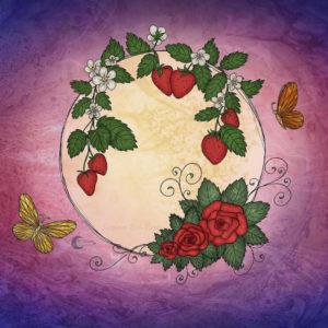 Strawberry-Rose-Moon-Illustration-SBDesignsCreations