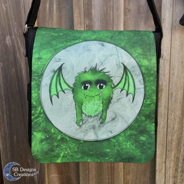 Groen-Monstertje-Groot-Schoudertas