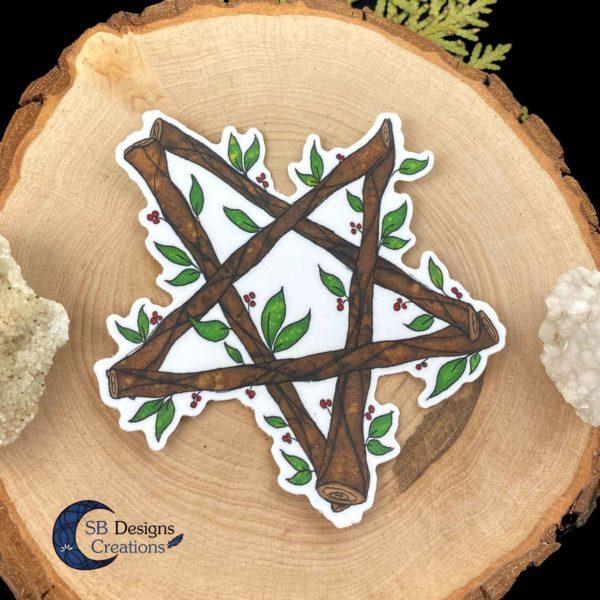 Pentagram-Natuur-Sticker-Hekserij-Pagan-Book-of-Shadows-Vinyl-SB Designs Creations-2
