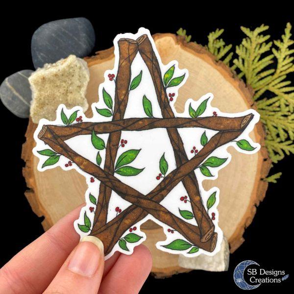 Pentagram-Natuur-Sticker-Hekserij-Pagan-Book-of-Shadows-Vinyl-SB Designs Creations-3