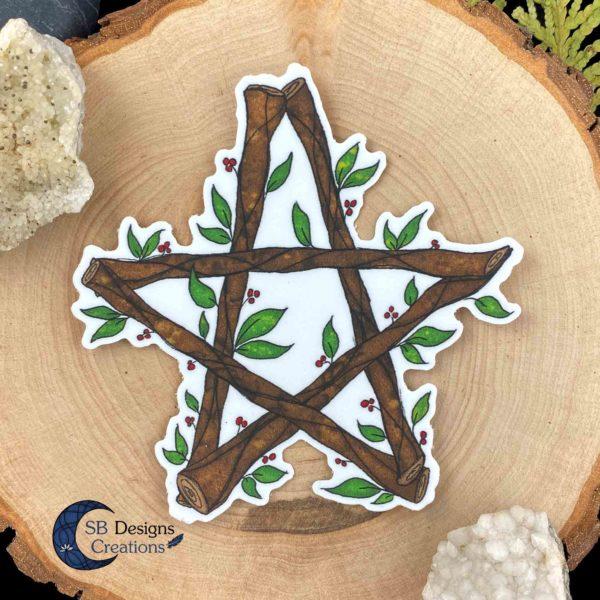 Pentagram-Natuur-Sticker-Hekserij-Pagan-Book-of-Shadows-Vinyl-SB Designs Creations