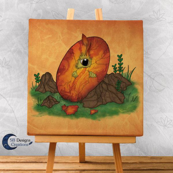 Canvas-Art-Feniks-Phoenix-Ei-Art-Fantasy-Muurdecoratie
