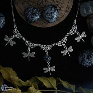 Libelle-Ketting-Spirit-Animal-Sneeuwvlok-Obsidiaan