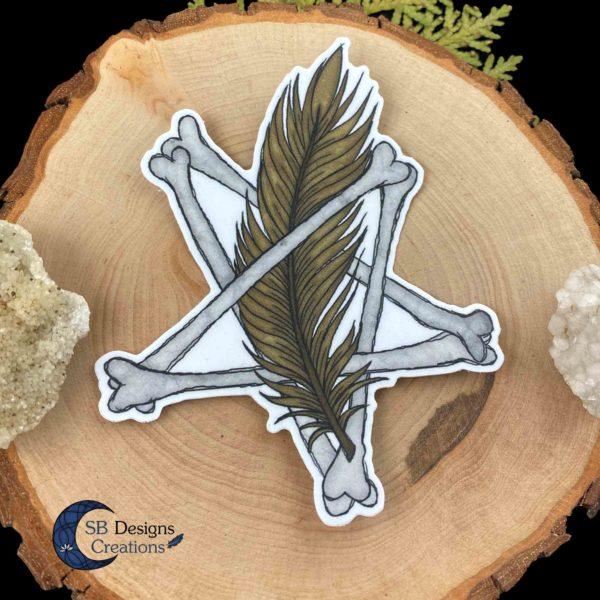 Pentagram Sticker Botten en Veer dieren Pagan Vinyl stickers-2