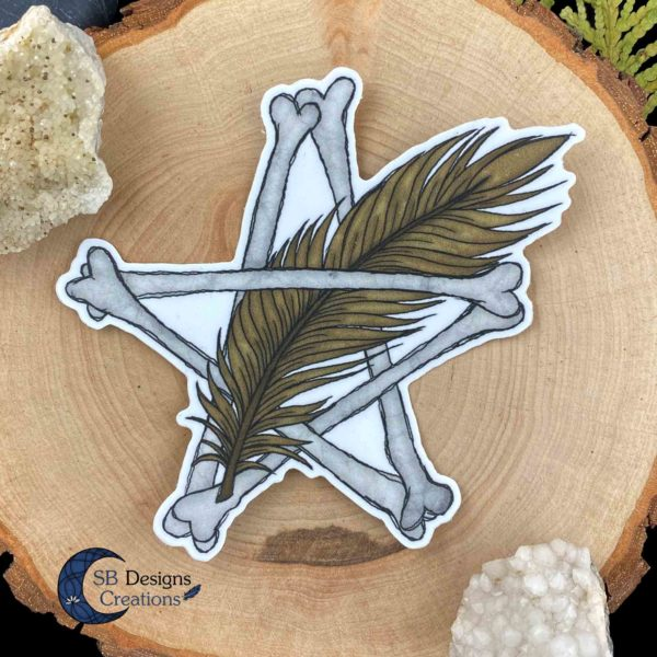 Pentagram Sticker Botten en Veer dieren Pagan Vinyl stickers