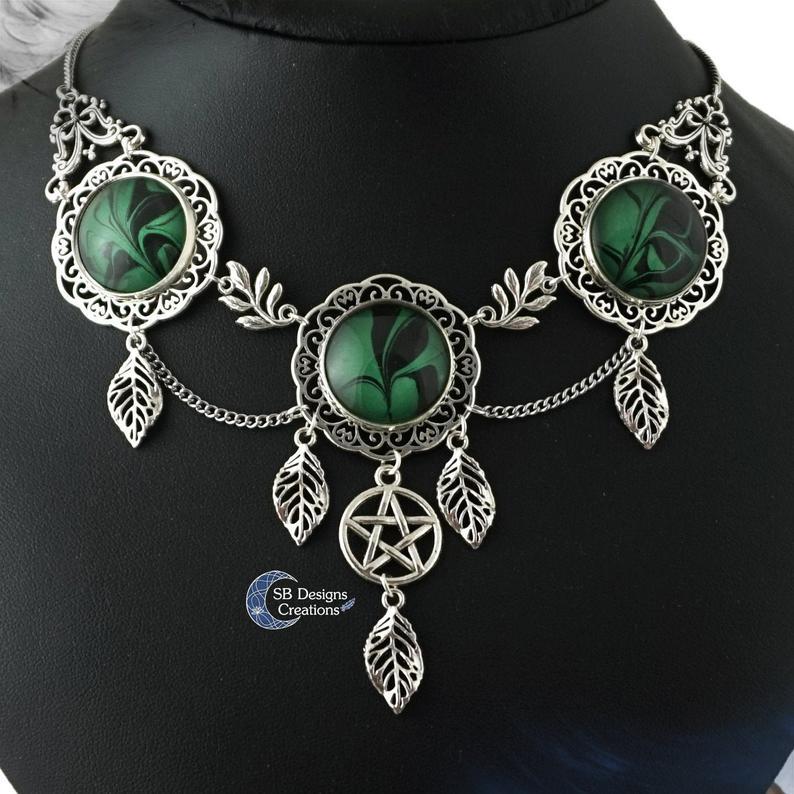 Sieraden Portfolio Pentagram Ketting Groene Ketting Natuur