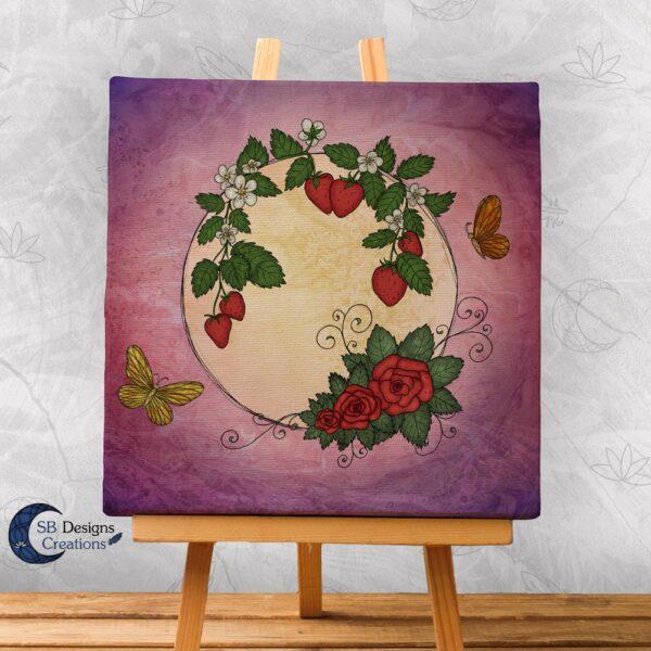 Volle Maan Art - Aardbeimaan Canvas Art - Strawberry Moon Full Moon Art-