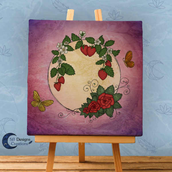 Volle Maan Art - Aardbeimaan Canvas Art - Strawberry Moon Full Moon Art