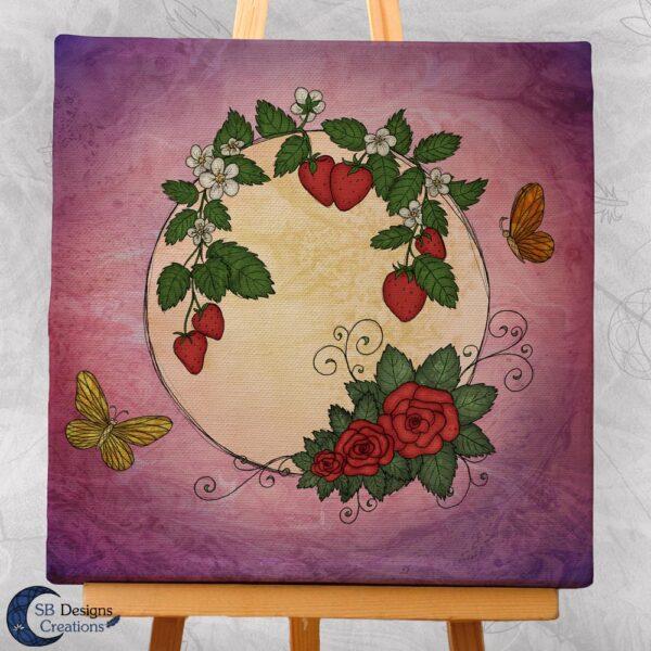 Volle Maan Art - Aardbeimaan Canvas Art - Strawberry Moon Full Moon Art-3-