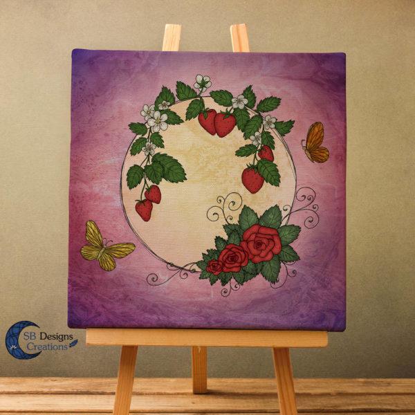 Volle Maan Art - Aardbeimaan Canvas Art - Strawberry Moon Full Moon Art
