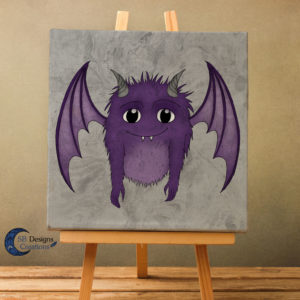 Canvas-Art-Friendly-Monster-Cute-Creature-Fantasy-Wezens-Paars