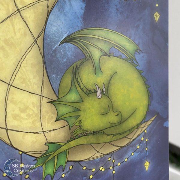 Maandraak-Maandraakje-Baby-Draakje-Groen-Art-Ansichtkaart-Fantasy-4
