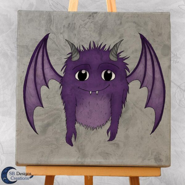 Monstertje-Paars-illustratie-Canvas-Art-