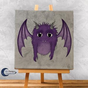 Schattig-Monstertje-Paars-canvas-art-