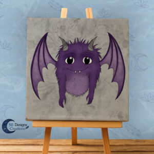 Schattig-Monstertje-Paars-canvas-art