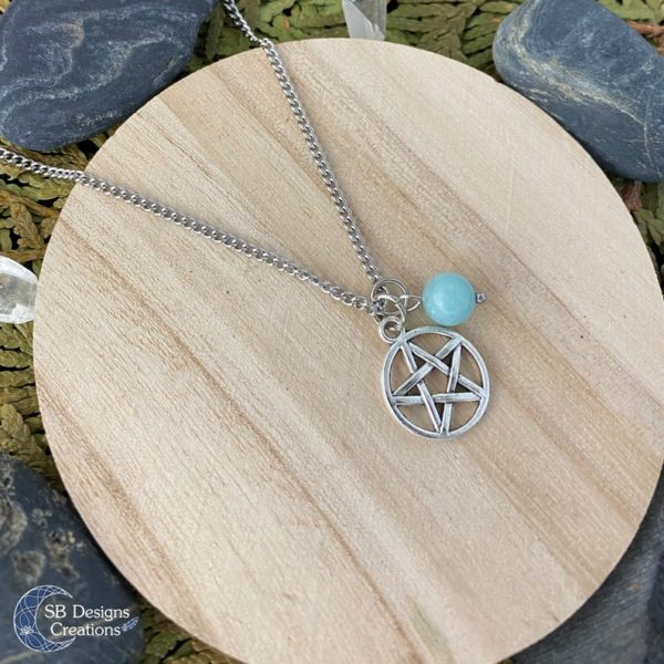 Amazoniet Pentagram Ketting - Heks Ketting-Spirituele Sieraden-Pentacle-2
