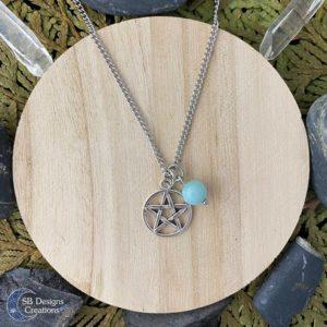 Amazoniet Pentagram Ketting - Heks Ketting-Spirituele Sieraden-Pentacle