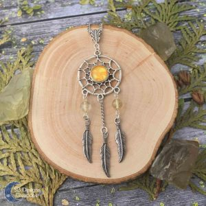 Dreamcatcher-Citrien-Dromenvanger-Edelsteen-Ketting-SBDesignsCreations