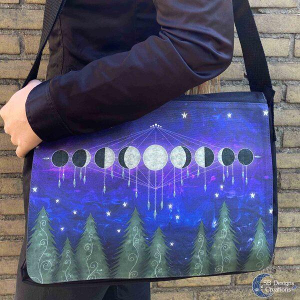 Messenger Bag Schooltas Spiritueel Magisch Maanfasen