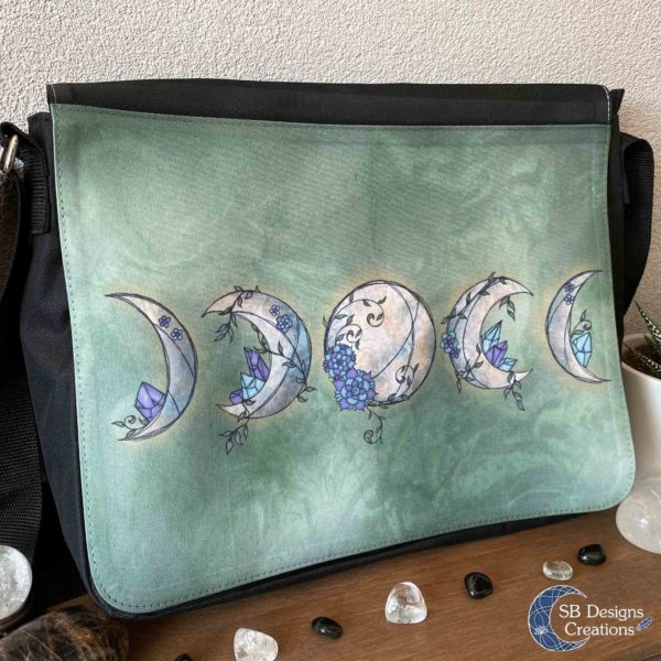 Moonphases Maanfasen Floral Schoudertas Fantasy