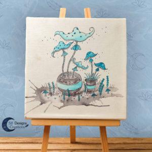Paddestoelen Art Inktober inkt illustratie print witchy vibes-1