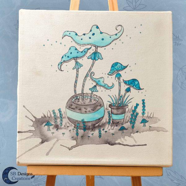 Paddestoelen Art Inktober inkt illustratie print witchy vibes-3