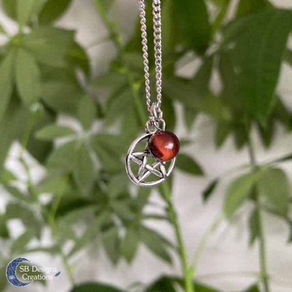 Pentagram-Red-Tigereye-Necklace-SBDesignsCreations