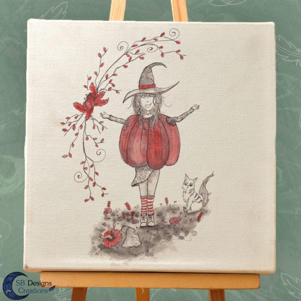 Samhain Witch Halloween Heks pompoen art-3