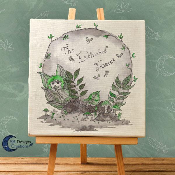 The Enchanted Forest-Canvas Art- Inkt illustratie-inktober-natuur-sbdesignscreations-1