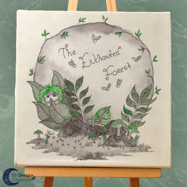 The Enchanted Forest-Canvas Art- Inkt illustratie-inktober-natuur-sbdesignscreations-3