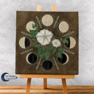 Moon Flowers Moon Phases - Moonwitch - Maanfasen Kunst - Pagan huis - Heksenhuis-SB Designs Creations-2